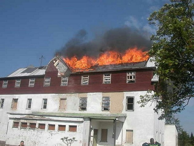 Požár hornoblatenského hotelu Imperiál.