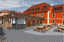 Vizualizace hotelu U Zámku a pivovaru.