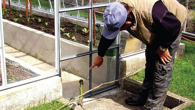 DNES ROZBITÉ SKLO, ZÍTRA HLAVA? Miloslav Vitoušek ukazuje, kudy pronikla větev do skleníku na jeho zahradě.