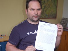 Autor s peticí. Petru Vlčkovi se záměr města nelíbí.