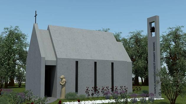 ARCHITEKTONICKÝ NÁVRH nové kaple na Mariánské z pera architektky Marcely Plaché ze studia MONarch. Kaple by měla být připomínkou toho, co se dělo v klášteře po válce.