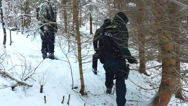 Policejní pátrací akce po lupičích ze zlatnictví v lázeňských lesích.