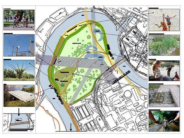Plán parku, který Karlovy Vary vybudují v meandru řeky Ohře.