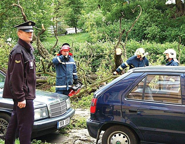 V POHOTOVOSTI. Páteční vichřice opět prověřila funkčnost spolupráce jednotlivých složek integrovaného záchranného systému.