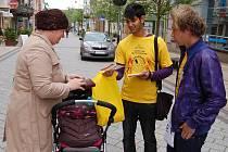 Symbolickou dvacetikorunu stála žlutá kytička, kterou ve středu nabízeli v Karlových Varech studenti.