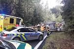 U Kojšovic havaroval kamion, dřevo z něho zasypalo osobní vůz