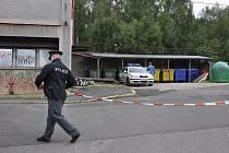 Ve středu 1. září prováděli policisté na sídlišti v Nejdku rekonstrukci pokusu o vraždu - otravu Fridexem. Láhev s Fridexem žena vyhodila do zeleného kontejneru. Žena obviněná z vraždy v tmavozelené bundě.