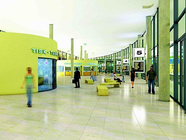 Studie interiéru dopravního terminálu.