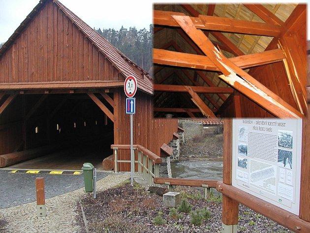 Neznámý řidič před pár dny poškodil unikátní most v Radošově (malý snímek). Ten se musí nyní opravit.