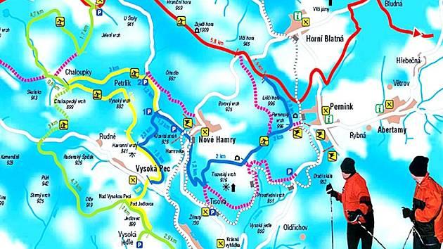 Mapa tras. Běžkařské stopy zavedou lyžaře na různá zajímavá místa.
