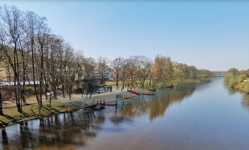Podoba Náplavky mezi Chebským mostem a plynárenskou lávkou.