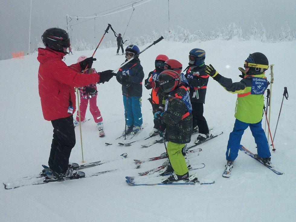 ŠKOLIČKY pro malé lyžaře bývají pravidelně také na krušnohorském Neklidu.