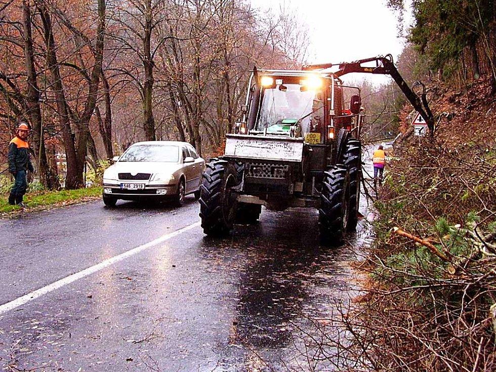 Čistí okolí silnice. Zaměstnanci Lázeňských lesů letos vyčistí část silnice kolem Březové.