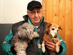 Dany A Týnka čekají ve vyhřátých kotcích v karlovarském psím útulku na nové majitele. O Vánocích si rádi smlsnou na piškotech. Zatím je má v péči Martin Čermák, provozovatel útulku.