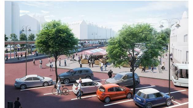 Toto je jeden z návrhů přestavby prostranství Městské tržnice, kterou zpracovala Kancelář architektury města (KAM). Vizualizace: KAM