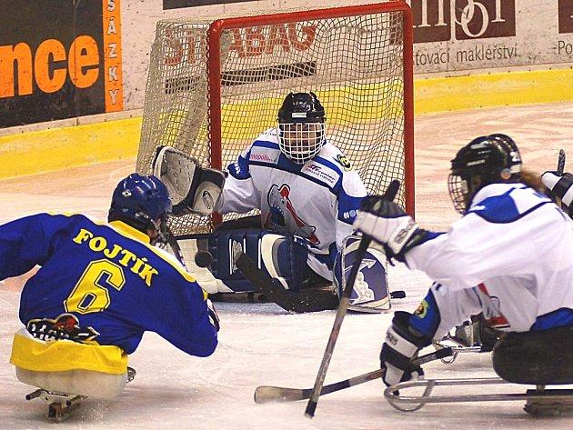 SMOLAŘ. Brankář Sharks Ladislav Janoušek (uprostřed) musel nejednou v duelu s Hamé Zlín zpytovat svědomí.