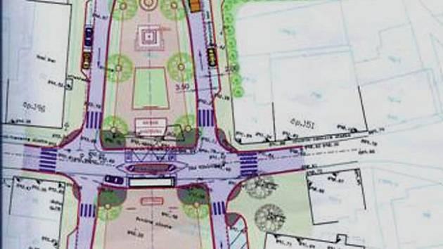 PROJEKT OŽIL. Tento předběžný nákres náměstí v Abertamech se podařilostavebníkům dodržet.
