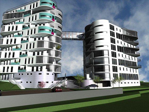 V KATEGORII NEJLEPŠÍ PROJEKTY Karlovarského kraje soutěží také například bytový dům Double Triangel v Karlových Varech (na snímku).