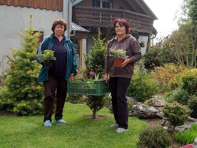 KARIN SKOŘEPOVÁ A BOBINA BAŘTIPÁNOVÁ (vpravo) se už připravují na výstavu.