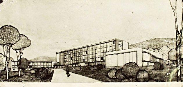 PŮVODNÍ STUDIE budovy Pedagogického institutu v Karlových Varech Drahovicích.