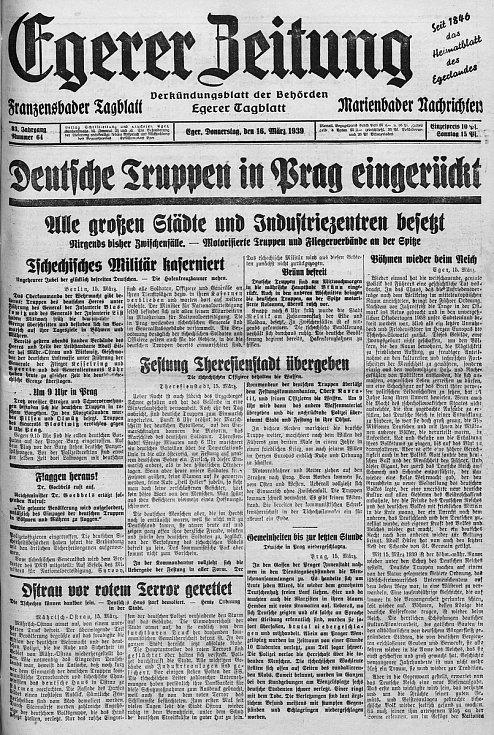 O vstupu německých vojenských jednotek informovaly chebské noviny již 16. března 1939.