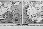Mapy uveřejněné vEgerer Zeitung ukazující rozsah Velkoněmecké říše po připojení Protektorátu Čechy a Morava (19. března 1939).