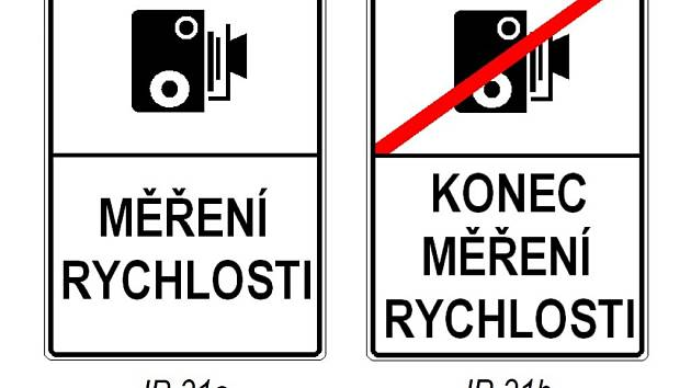 Značky 'Měření rychlosti' a 'Konec měření rychlosti'
