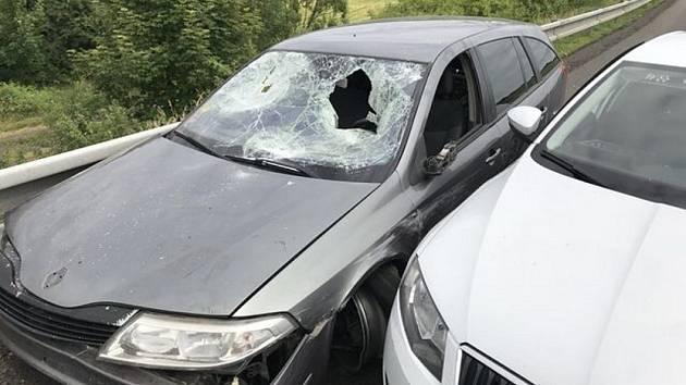 Policejní snímky z místa nehody a z místa dopadení řidiče.