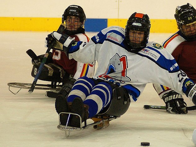 V každém sledge hokejovém týmu mohou nastoupit dva zdraví hráči. Jedním z karlovarských je Tomáš Berger (v bílém). Za ním je Zdenda Krupička, kapitán pražské Sparty.