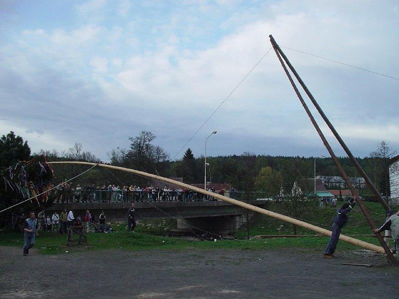 Pálení čarodějnic a stavění májky v Nové Roli 2003.