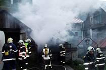 Požár garáže v Jáchymově