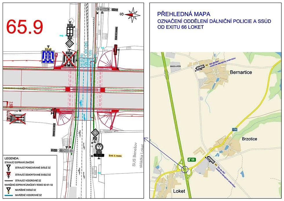 Situační plánek úpravy značení podjezdu pod dálnicí D1 mezi Loktem a Brzoticemi.