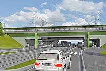 Vizualizace budoucí stanice Zahradní Město nad Průběžnou ulicí.