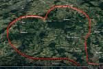 Trasa, kterou piloti F air letěli v neděli 14. února na svátek sv. Valentýna.