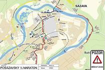 Plánek trasy čtvrtého Posázavského půlmaratonu.