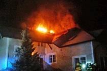 Požár rodinného  domu v Hrusicích.