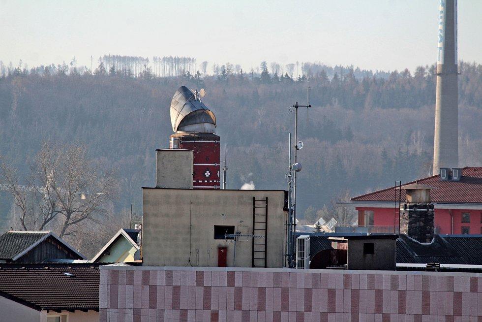 Benešov při pohledu ze střechy kostela sv. Anny - puvovar.