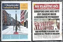Titulní strany Benešovských radničních listů a novin vložených bez souhlasu města do květnového vydání.