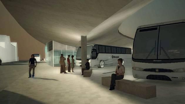 Vizualizace dopravního terminálu v Benešově.