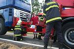 Čelní srážka zablokovala provoz na silnici I/3 v Olbramovicích od 13.15 do 16 hodin.