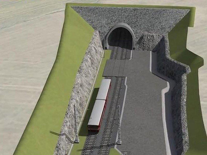 Vizualizace budoucího koridoru mezi Heřmaničkami a Meznem - portál tunelu u Střezimíře.