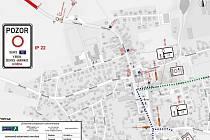 Plánky dopravní situace kvůli uzavírce silnice II/112.