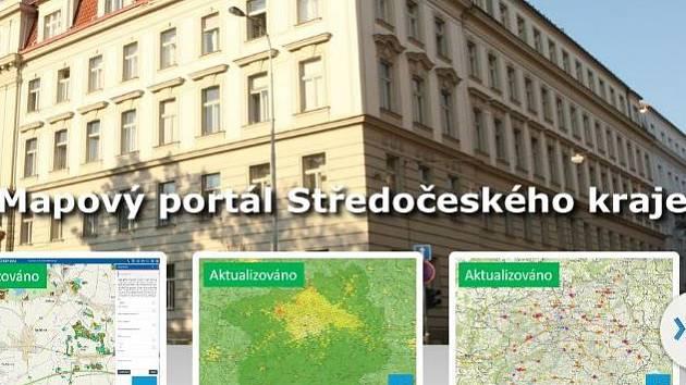 Stránky mapového portálu Středočeského kraje.