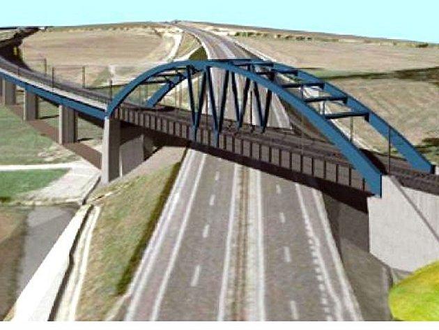 Ocelový železniční most přes dálnici D3 je součástí koridoru mezi Táborem a Sudoměřicemi.