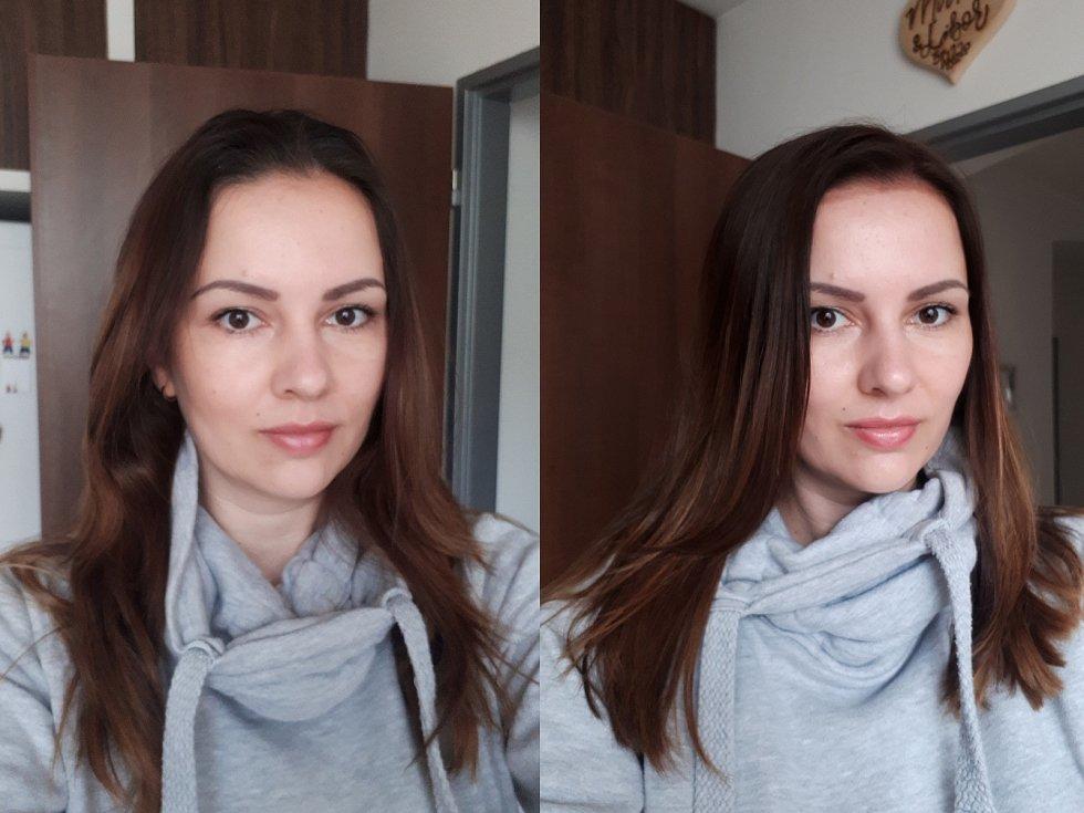 Mirka Konvičná z Votic před a po návštěvě kadeřnice.