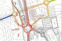 Plánky velké okružní křižovatky na silnici I/3.