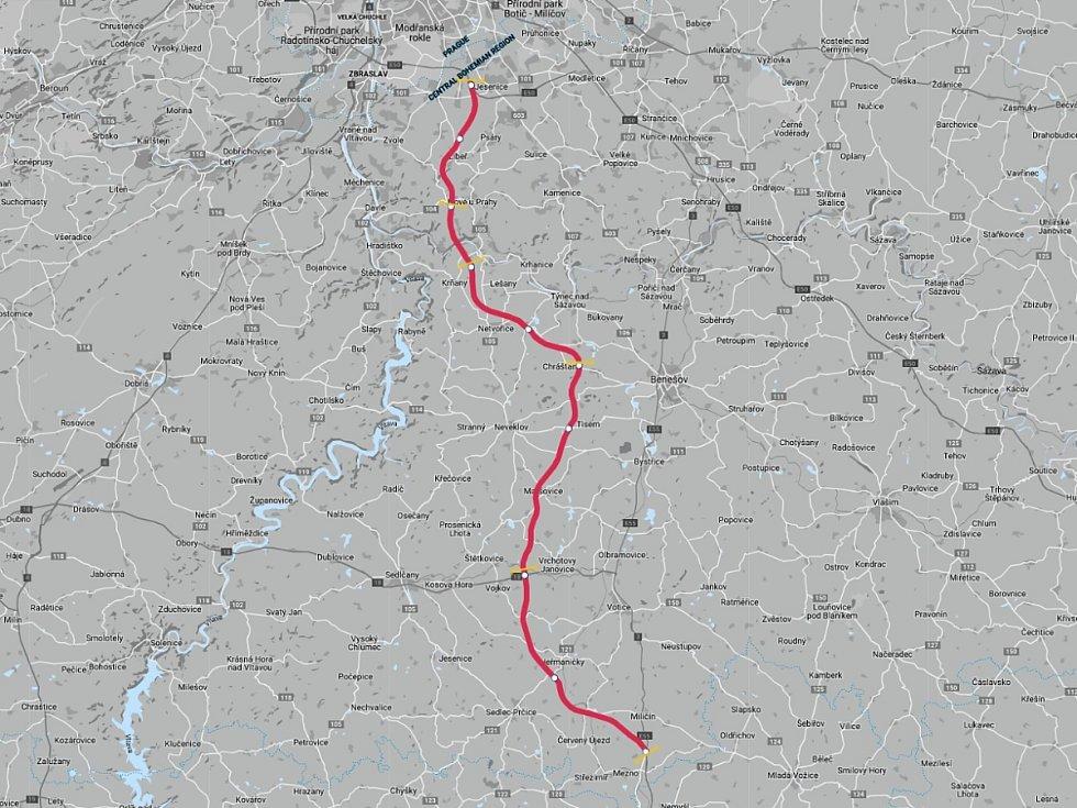 Na mapě vyznačený úsek dálnice D3.