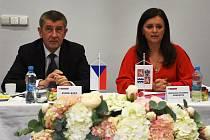 Premiér Andrej Babiš a středočeská hejtmanka Jaroslava Pokorná Jermanová.
