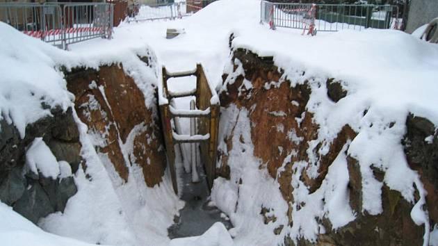 Výstavba kanalizace v Peceradech - 7. ledna
