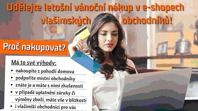 Výzva k nákupům on-line ve Vlašimi.